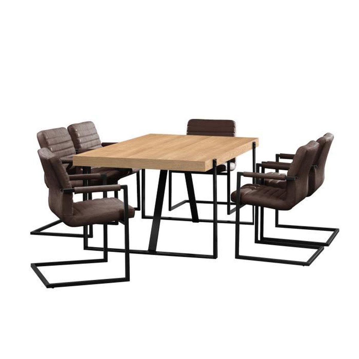 Table de salle manger ch ne naturel avec 6 - Table avec chaises encastrables ...