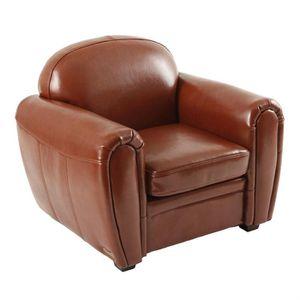 fauteuil cuir marron achat vente fauteuil cuir marron pas cher cdiscount. Black Bedroom Furniture Sets. Home Design Ideas