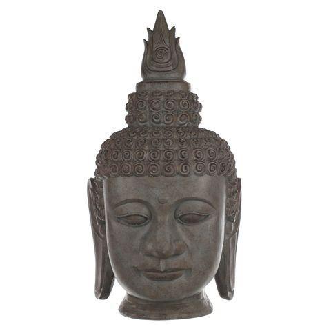 Statue t te de bouddha effet pierre 64cm 111604 achat for Tete de bouddha deco