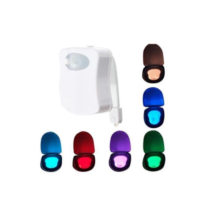 lampe de toilette wc led veilleuse capteur d tecteur pir 8 changement de couleurs clairage. Black Bedroom Furniture Sets. Home Design Ideas