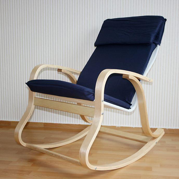rocking chair homs bleu en bois de h tre achat vente fauteuil mati re de la structure bois. Black Bedroom Furniture Sets. Home Design Ideas