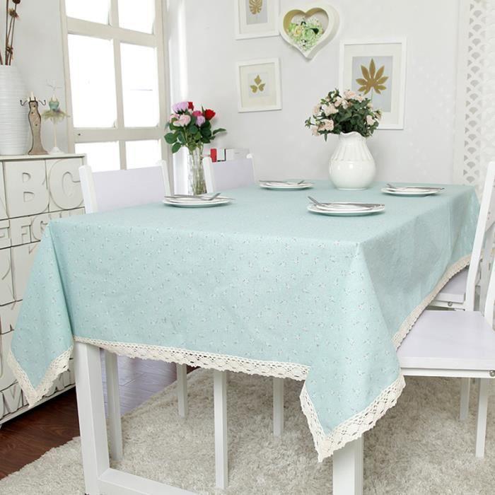 Elenxs 140 140cm nappe de table carr bleu clair avec - Nappe de table carre ...