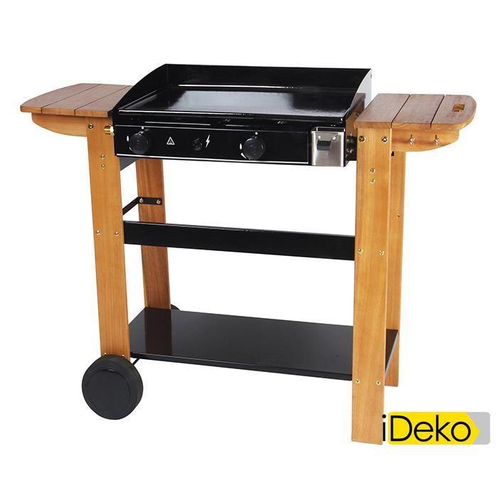 plancha gaz sur chariot bois plaque fonte 2 br leurs 6kw. Black Bedroom Furniture Sets. Home Design Ideas