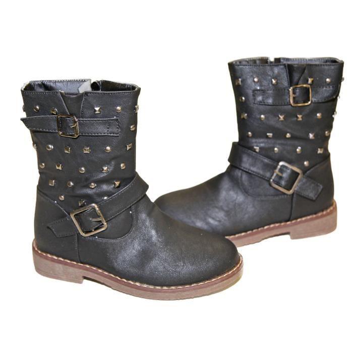 bottes low boots bottines clout es fourr fille noir achat vente bottine 2009983051632. Black Bedroom Furniture Sets. Home Design Ideas