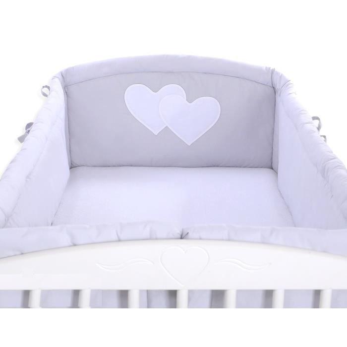 tour de lit b b complet 120 60 ou 140 70 gris c achat vente tour de lit b b. Black Bedroom Furniture Sets. Home Design Ideas