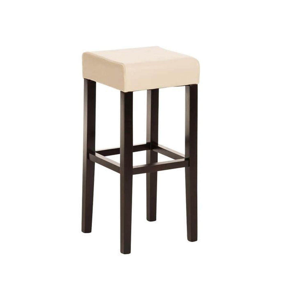 tabouret de bar en bois avec si 232 ge en simili cuir cappuccino cr 232 me 80 x 37 x 37 cm achat