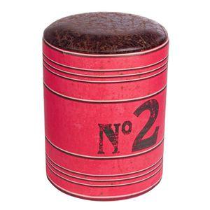 TABOURET BATCH Lot de 2 tabourets rouges - Diamètre 30 cm H