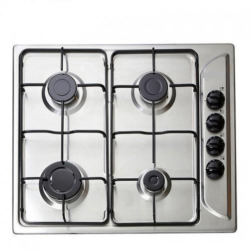 Plaque table gaz inox design silver 4 foyers mega promo achat vente plaqu - Branchement plaque de cuisson gaz ...