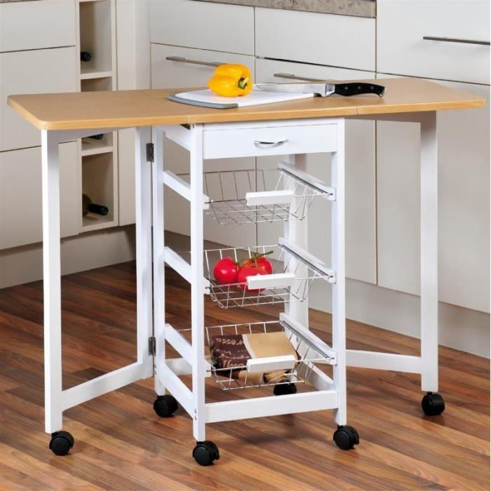 desserte de cuisine en bois modulable avec plateaux rabattables rangement cuisine achat. Black Bedroom Furniture Sets. Home Design Ideas