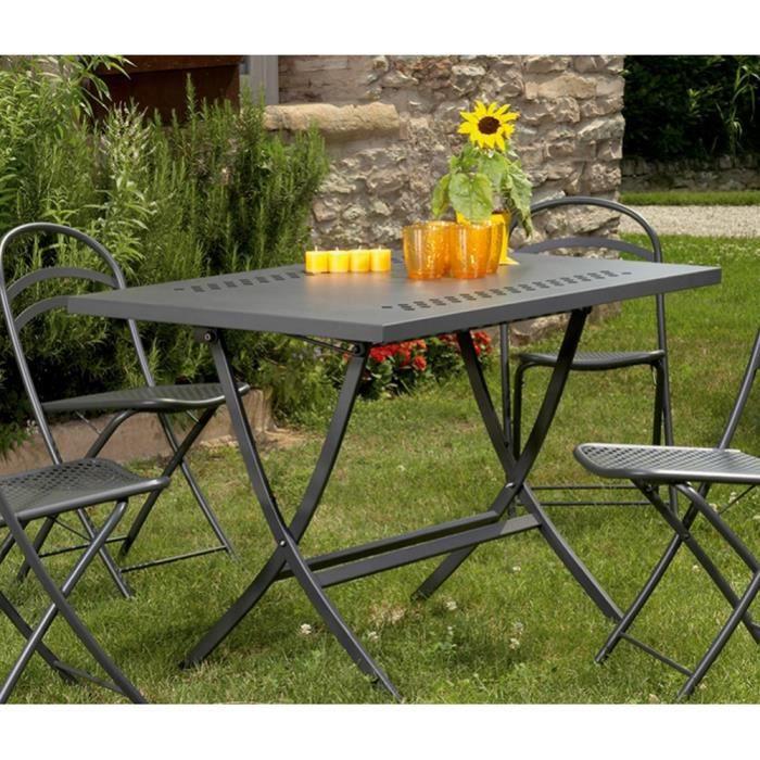 Table de jardine pliante de design moderne out metal for Table de jardin metal pliante