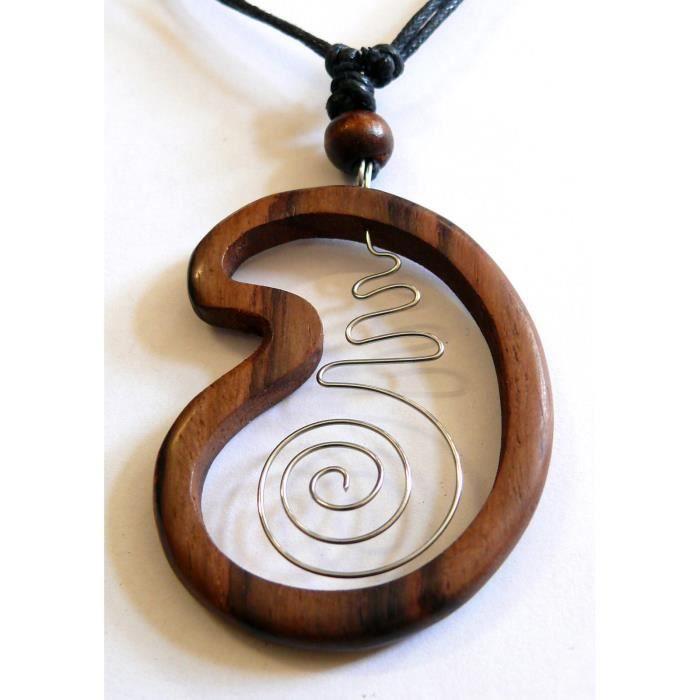 Collier en bois pendentif ajustable ethnique m tal bijoux for Fumoir artisanal en bois