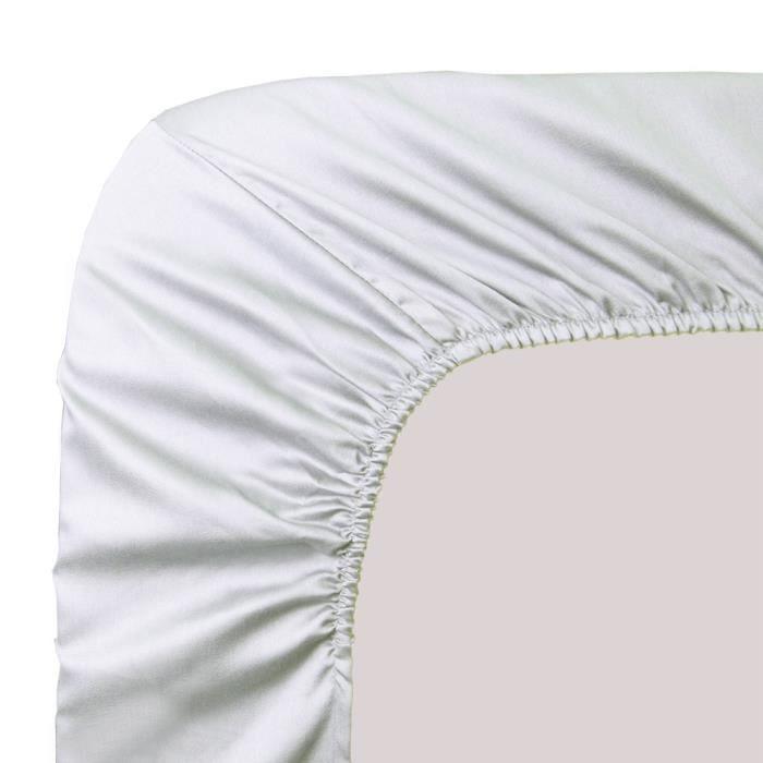 drap housse ava uni blanc 160x200 achat vente drap housse cdiscount. Black Bedroom Furniture Sets. Home Design Ideas