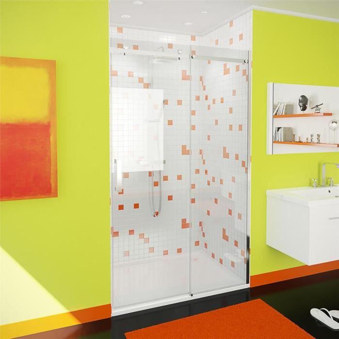 Porte de douche coulissante fundy verre 8 mm longueur 100 cm achat vente porte de douche Porte de douche 100 cm