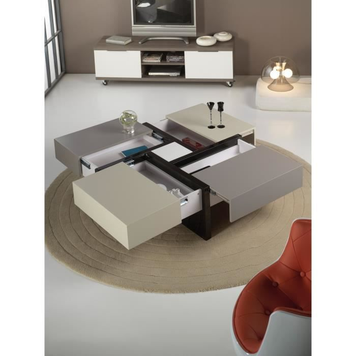Table basse carr e 4 tiroirs elodie tricolore achat for Table basse design 4 tiroirs