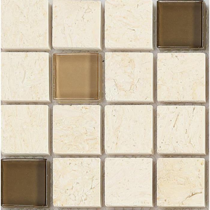 Carrelage mosa que en verre et pierre brown et beige for Achat carrelage