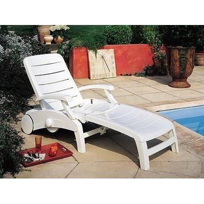 Bain de soleil acadia blanc grosfillex achat vente chaise longue transat bain de soleil - Chaises longues grosfillex ...
