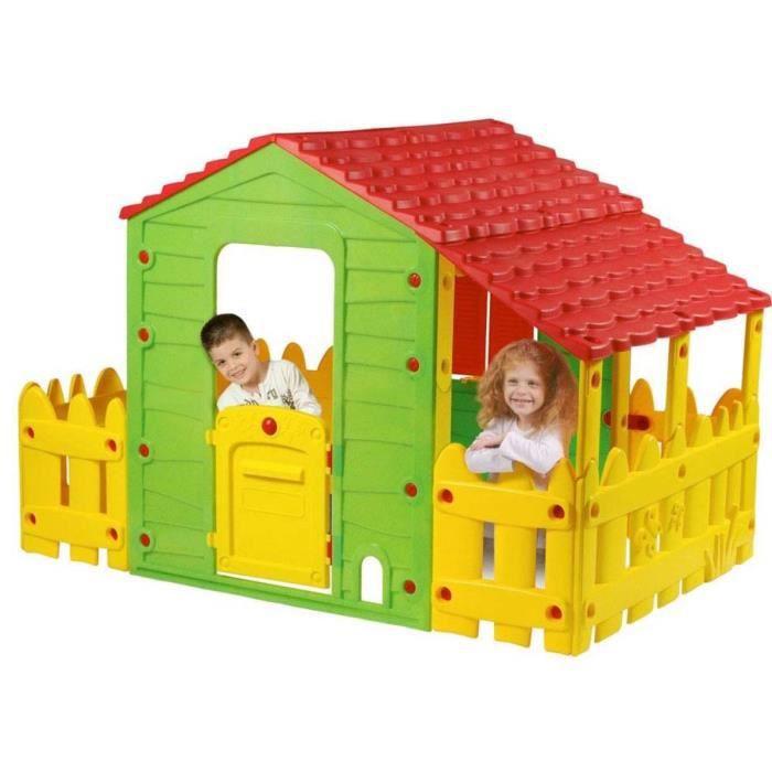 Cabane enfant ferme fun avec jardinet et verand achat for Maison plein air enfant