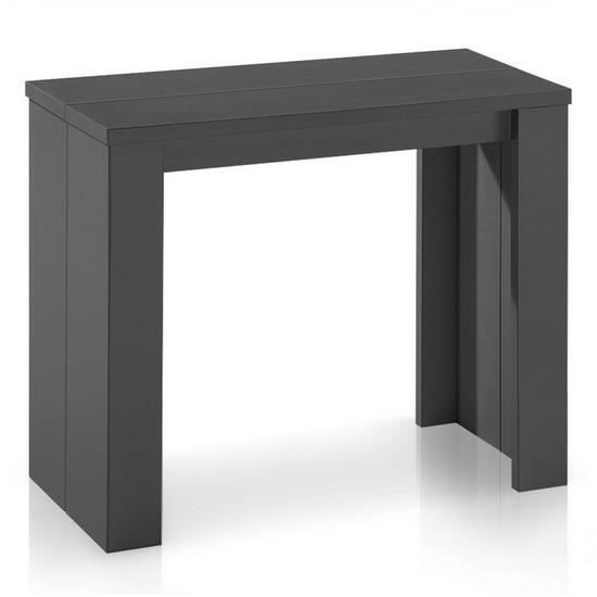 Table console extensible gris mat texas achat vente console table console - Console extensible gris ...