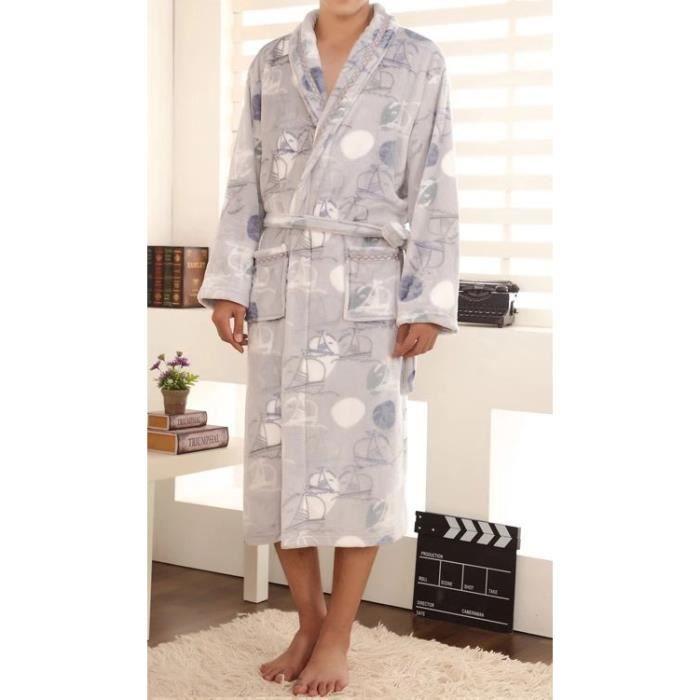 Robe de chambre polaire homme grise bateaux liser achat vente peignoir cdiscount - Achat robe de chambre homme ...