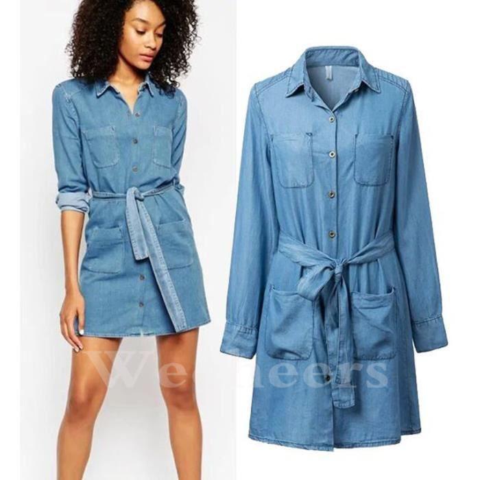neuf pour femmes long chemise en jeans robe taille en image achat vente robe cdiscount. Black Bedroom Furniture Sets. Home Design Ideas