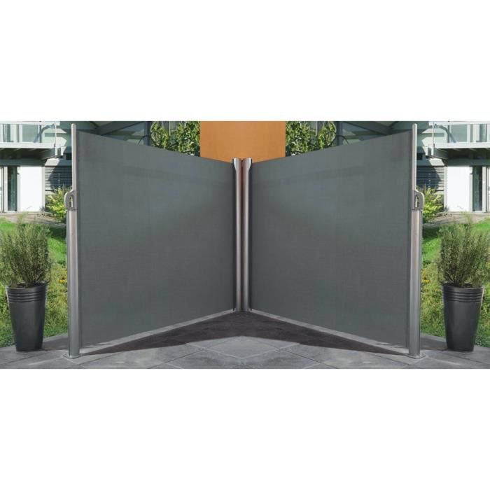 paravent r tractable double gris 6 x 1 7m achat vente. Black Bedroom Furniture Sets. Home Design Ideas