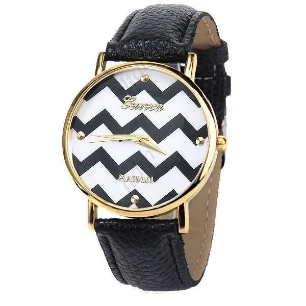 montre femme fantaisie noire et blanche bracelet cuir achat vente montre montre femme. Black Bedroom Furniture Sets. Home Design Ideas