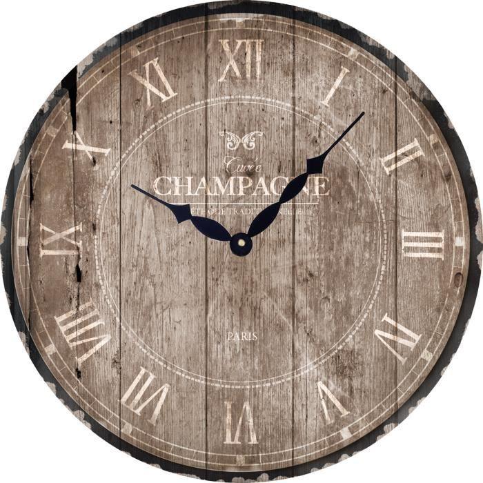 horloge 30 cm champagne taupe achat vente horloge cdiscount