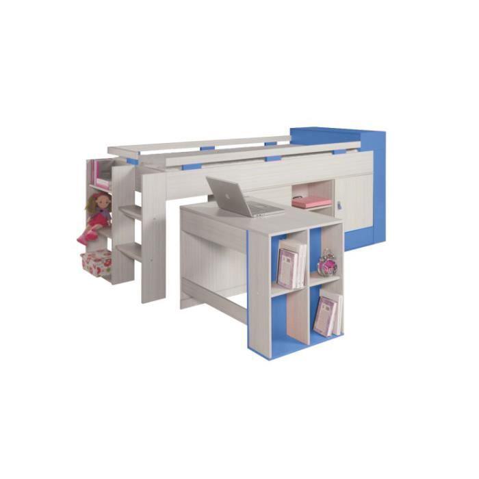 Lit combine bureau et rangement axel aucune option achat - Ensemble bureau et rangement ...