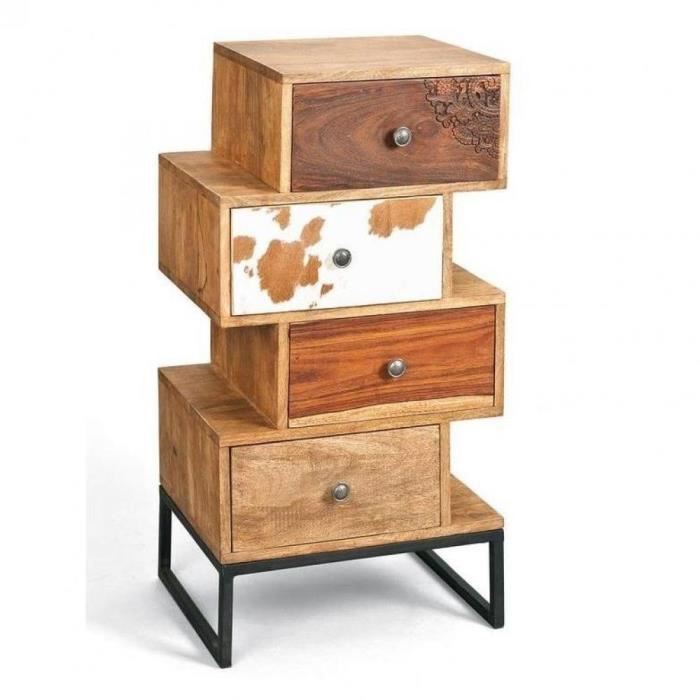 commode sua 4 tiroirs en bois de manguier recycle achat. Black Bedroom Furniture Sets. Home Design Ideas