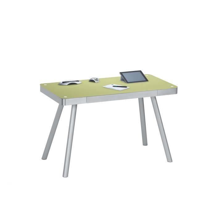 Bureau informatique design m tal et verre coloris vert pastel harty achat - Bureau design verre metal ...
