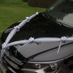 tulle noeud ruban ruban deco capot de voiture mariage organsa et sat - Noeud Pour Voiture Mariage Tulle