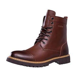 BOTTINE Mode Bottine à Lacet Boots en Cuir Homme Chaussure