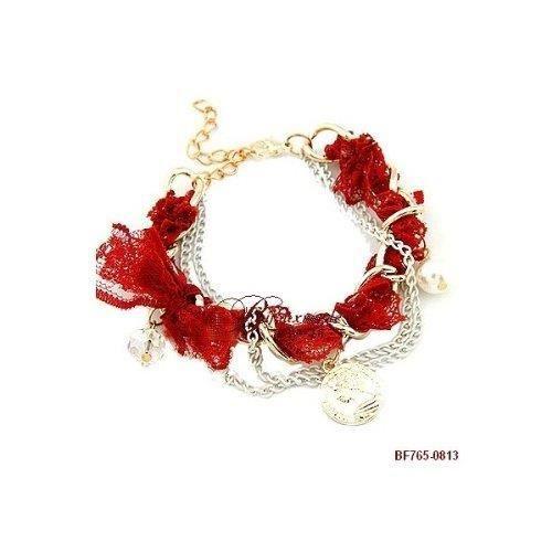 bracelet charms louis d 39 or avec dentelle borde achat. Black Bedroom Furniture Sets. Home Design Ideas