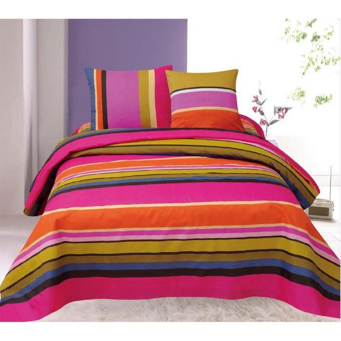 parure de lit 4 pi ces rayures acidul es pour lit 2 personnes achat vente parure de lit. Black Bedroom Furniture Sets. Home Design Ideas