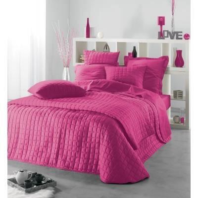 Couvre lit uni 220 x 240 cm couleur rose achat vente jet e de lit b - Couvre lit aubergine ...