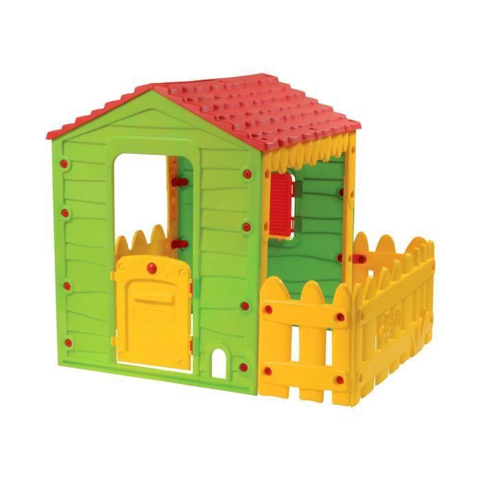 cabane enfant ferme avec jardinet 146 x 118 x 127 cm achat vente maisonnette ext rieure. Black Bedroom Furniture Sets. Home Design Ideas