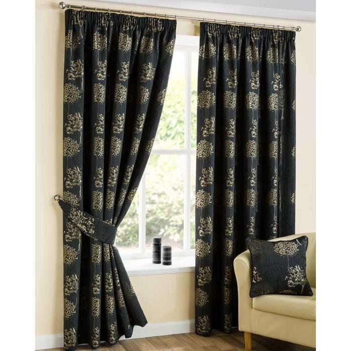 rideaux motif arbre noir galon fronceur jacquard 165x182. Black Bedroom Furniture Sets. Home Design Ideas