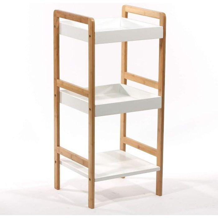 Etagere bambou de salle de bains 3 niveaux achat vente for Etagere salle de bain bambou