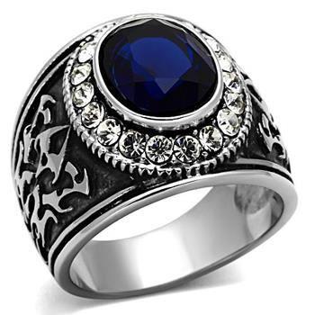 chevali re homme en acier pierre bleu achat vente chevaliere chevali re homme en acier p
