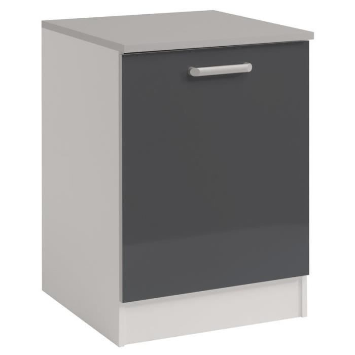 Paris prix meuble bas 1 porte 60 cm shiny gris achat for Meuble bas prix