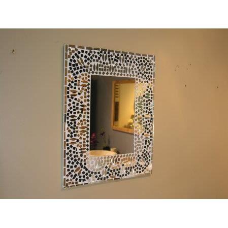 Miroir mosaique design noir et blanc 40cm x 50c achat vente miroir l - Miroir noir et blanc ...