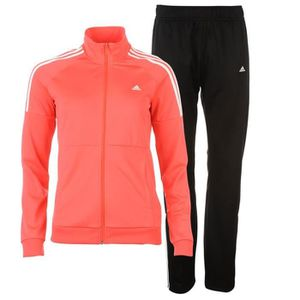 ENSEMBLE DE RUNNING Jogging Noir et Rouge Femme Adidas 3 Bandes