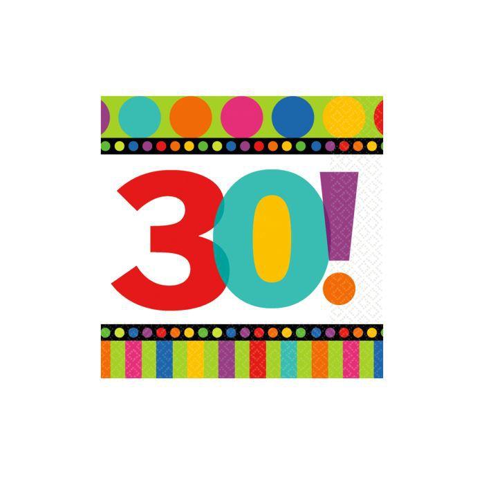 serviettes en papier anniversaire 30 ans achat vente serviette jetable cdiscount. Black Bedroom Furniture Sets. Home Design Ideas