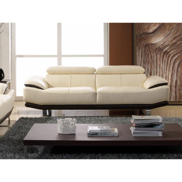 Le canap en cuir bicolore blanc cass et noir osmoz illuminera votre salon et laissera vos - Canape blanc casse ...