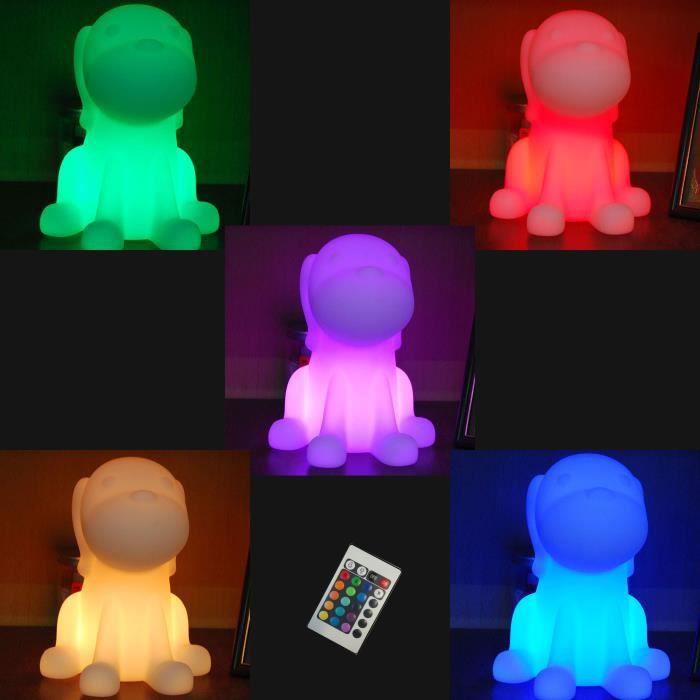 lampe led de table 26cm forme chien telecommande 16 couleurs achat vente lampe led de table. Black Bedroom Furniture Sets. Home Design Ideas