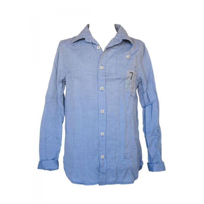 chemise en percale de coton bleu bleu achat vente chemise chemisette cdiscount. Black Bedroom Furniture Sets. Home Design Ideas