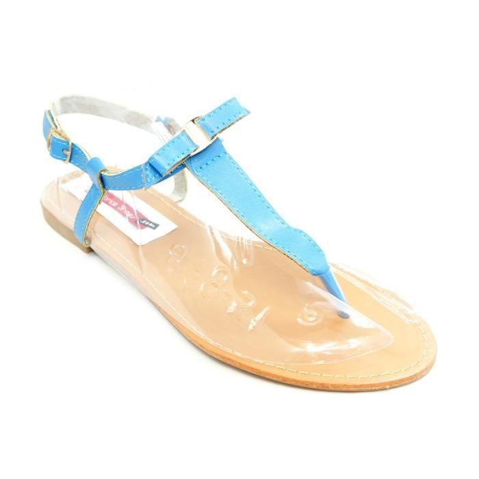 sandale avec un petit noeud sur bleu achat vente