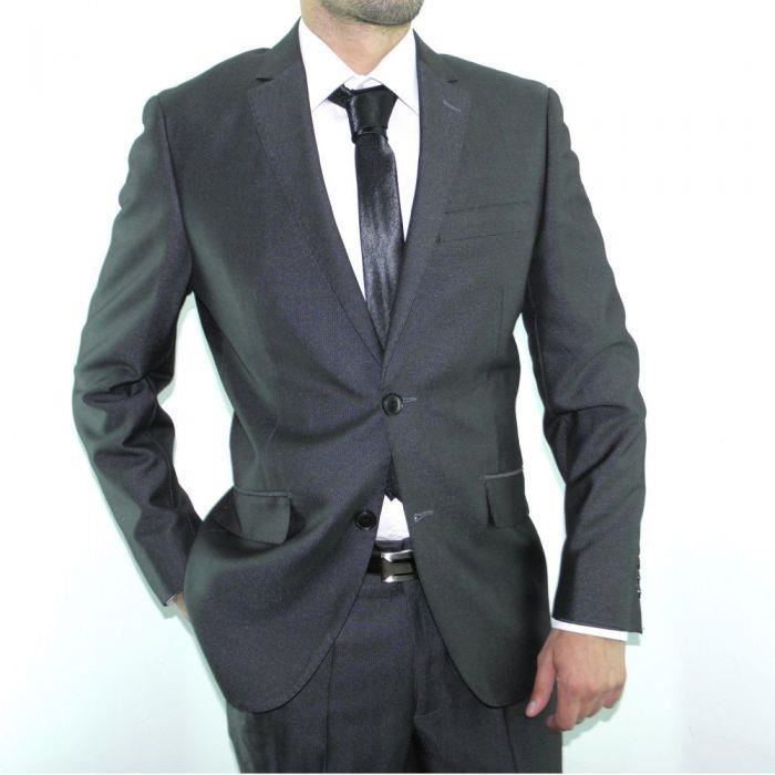 Costume homme anthracite cintr gris achat vente costume tailleur cdiscount - Costume homme pret a porter ...