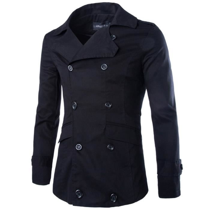Trench Coat Homme Noir Automne Thin Coton Double Breasted