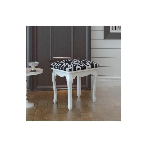 tabouret pouf pour coiffeuse en bois achat vente tabouret bois cdiscount. Black Bedroom Furniture Sets. Home Design Ideas